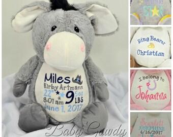Personalized Stuffed Animal, Personalized Donkey, Embroidered Donkey, Birth Stat Keepsake, New Baby Gift, Valentines Day Gift, Plush Toy