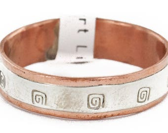 140 Retail Tag .925 Sterling Silver Pure Copper Handmade Authentic Made by Robert Little Native American Ring  16979-19
