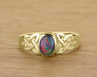 Women's Fashion 7x5mm Natural Opal Ring in 14K or 18K Gold  SKU: R2339