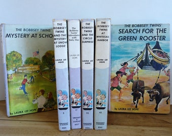 Childrens fiction classics, Bobbsey Twins vintage book collection of 6, Laura Lee Hope, mystery