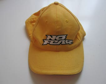 Vintage 90's No Fear yellow Cotton Ball Cap 55cm with Adjustable velcro back