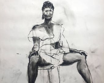 Confident Woman Wrapped In Paper Charcoal Drawing, One of A Kind