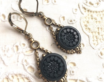 Victorian Antique Button Earrings Jet Glass Dangle lever back Antique Brass