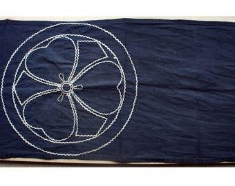 Sashiko Fabric / Japanese Vintage Fabric #018 - Japanese Kamon Style Design