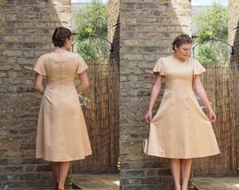 70s formal dress golden yellow flutter sleeves empire waist wedding guest dress size 10 UK