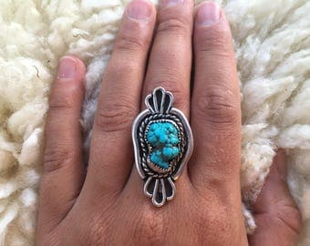 Sterling Silver Turquoise Ring Size 7.25