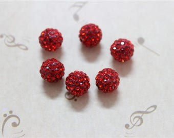 10 Red 10mm Shamballa Crystal polymer clay beads