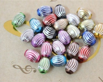 30 beads spacer barrel with striped multicolored aluminum metal silver 12X9mm
