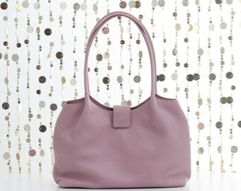 Soft leather tote bag, pink leather shoulder bag, leather shopper, leather handbag, soft tote bag, soft leather bag, FREE SHIPPING