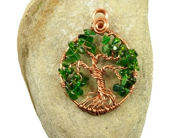 Emerald green tree-of-life pendant, May birthstone necklace, Copper tree-of-life jewelry, Gift for wife, Yggdrasil necklace, Wire wrapped