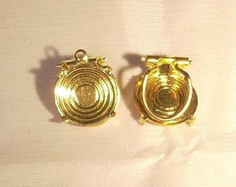 Support claw without sifter 13 x 2 mm round gold metal clip earrings