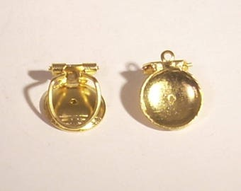 Support without sifter 12 x 2 mm round gold metal clip on earrings
