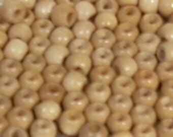 20 beige 4mm round wood beads