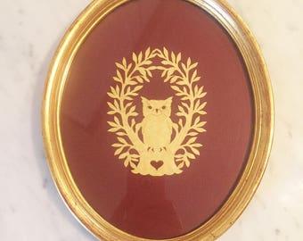 Framed Owl Decor, Owl Art, Owl Scherenschnitte, Gilt Oval Frame, Brown Gold Wall Decor, Gallery Wall, Folk Art
