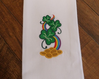 White Kitchen Tea Towel Embroidered St. Patrick's Day SHAMROCKS & RAINBOW with Green Checked Hem