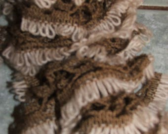 Ruffle scarf large nets, cream and brown - color handmade