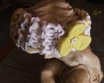 Baby yellow and white with yellow flower headband - handmade