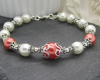 Coral and Ivory Bridesmaid Bracelet, Coral Pearl Bracelet, Coral Wedding Jewellery Set, Matching Pearl Sets, Bridal Party Gifts, Bridal Gift