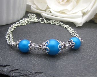 Malibu Blue Bridesmaid Bracelet, Blue Pearl Jewellery, Capri Bridesmaid Jewellery, Bridal Party Gifts, Simple Bridal Sets,