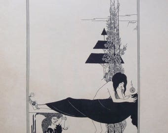 1920s Aubrey Beardsley A Platonic Lament Lithograph - Illustration For Oscar Wilde Salome - Tragedy in One Act - Art Nouveau Listed Artist