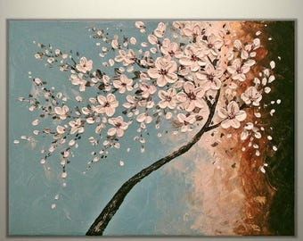 "4th of July sale Original Impasto Acrylic Modern Abstract Art  Painting on  Gallery wrapped Canvas 24"" x 18"", Home Decor, -White  Blossoms-"