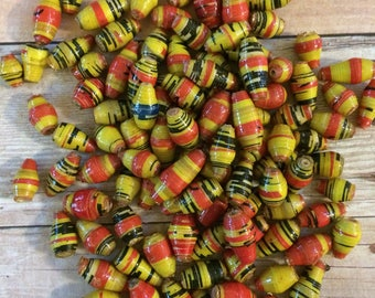 Paper beads, jewelry supplies, colorful beads