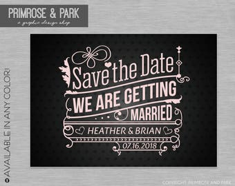 Wedding Save the Date Cards // Vintage Save the Date // Printable or Digital File