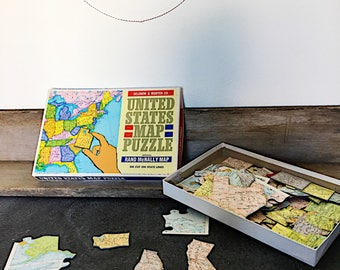 Vintage United  States Puzzle Map - Die cut on State Lines - official Rand McNally Map Puzzle - vintage puzzle