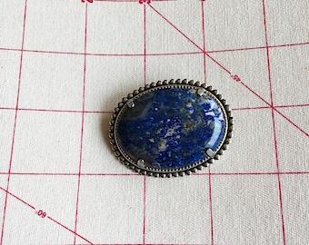 Vintage Lapis pin - Large Lapis Lazuli Brooch - Lapis and Pyrite Stone - Silver beaded bezel - Lapis blue