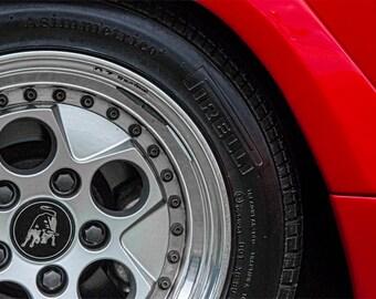Lamborghini Countach Photo, color photograph, Red, black and silver chrome, fine photography print, Countach