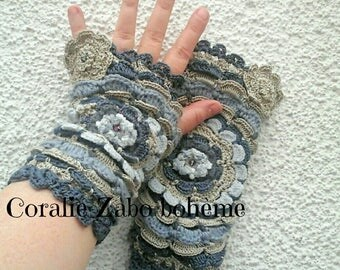 Mitaines femme-mitaines grises-mitaines au crochet-laine-soie-coton-chauffe poignets fait-main-féerique-coralie-zabo-boheme