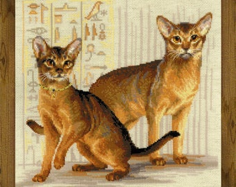 Abyssinian Cats cross stitch kit by RIOLIS Ref. no.: 1671