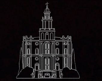 St George Utah Temple Redwork Whitework Embroidery Machine Design