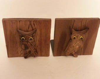 Wood Owl Bookends - made in Japan by OMC