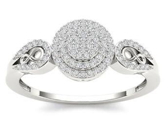 10Kt White Gold 0.20 Ct Diamond Halo Engagement Ring