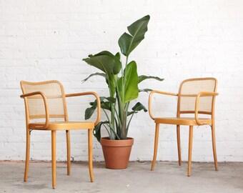 PAIR - Thonet Prague Stendig Cane Mid Century Bentwood Chairs