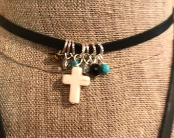 Leather chokers with cluster of beads and cross