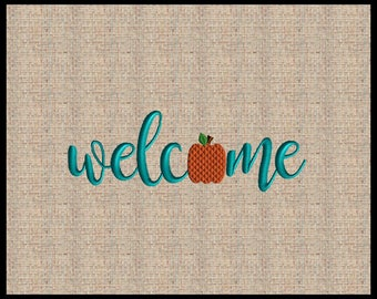 Welcome Embroidery Design Pumpkin Embroidery Design Thanksgiving Embroidery Design 5 sizes 5 inches up to 10 inch