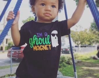 I'm A Ghoul Magnet Baby Boy Toddler Black Halloween Tshirt