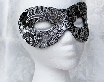 Black Silver Brocade Mask, Black and Silver Metallic Brocade and Leather Masquerade Mask, Black Silver Eye Mask Ready Made