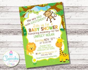 Jungle Baby Shower Invitation | Safari Baby Shower Invite | Born To Be Wild | Zoo | Gender Neutral | Neutral Baby Shower | Digital