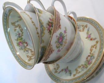 Vintage Mismatched China Cups & Saucers for Tea Party, Wedding, Bridal Shower, Bridal Luncheon, Easter, Mother's Day - Set of 4
