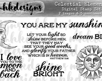 Celestial Elements Digital Stamp Set