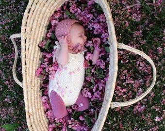 Newborn props - Newborn romper - Baby girl props - Photo props - Newborn girl - Baby photo prop - Newborn baby photo - Cream - Baby girl