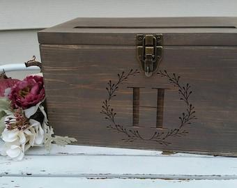 Rustic Wood Card Box, Large Card Box,  Wedding Cards, Laser engraved Wedding card Box, Anniversary card box, Graduation Card Box