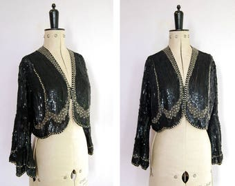 Vintage Antique 1920s beaded sequin rhinestone evening jacket - 20s flapper beaded jacket - Beaded bolero jacket - Evening jacket  Art deco