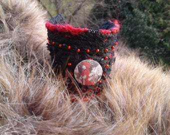 Red and black Cuff Bracelet with sequins and button print