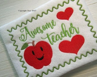 Awesome Teacher embroidery design, filled stitch, 1 size, fits 5 x 7 hoop, school design, school embroidery