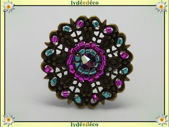 Japanese pink green glass 25mm bronze beads charm retro vintage adjustable flower ring