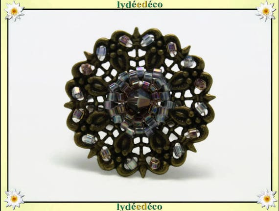 Ring adjustable charm retro vintage woven flower print Japanese bronze 25mm iridescent blue-grey amber glass beads